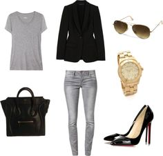 Outfits with grey jeans