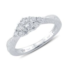 Alluring Round Cut Prong Set Diamond Promise Ring in 14K White Gold    $1,529.00