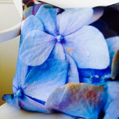 Blue Decorative Throw Pillow Hydrangea by LimezinniasDesign