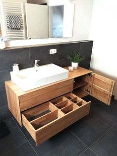 Solid oak vanity with three drawers and a dra .- Waschtisch aus Eiche massiv mit drei Schubkasten und einer Tür Solid oak vanity with three drawers and a door - Bathroom Cabinets, Bathroom Furniture, Bathroom Interior, Rustic Furniture, Modern Furniture, Outdoor Furniture, Toilet Storage, Bathroom Storage, Bad Inspiration