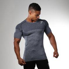 Gymshark Phantom Seamless T-Shirt - Sapphire Blue Marl Gym Clothes Women, Training Tops, Workout Shirts, Workout Clothing, Mens Fitness, Sport Outfits, Shirt Designs, Men Sweater, Mens Tops