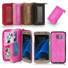 Fashion luxury 2 in 1 stylish PU Leather wallet phone case For For SAMSUNG Galaxy S7,S7edge shockproof daily handbag funda coque