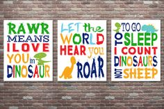 Dinosaur Decor Dinosaur Wall Art INSTANT by CottageArtShoppe