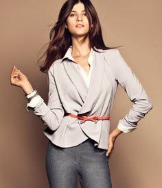 H Jacket $49.95 Unlined, open jacket in crêpe with a shawl collar and narrow imitation leather belt.