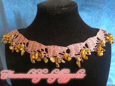 Crocheted necklace with stones
