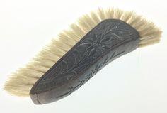 Inlaid Edwardian Crumb Tray 220 X 240mm + carved wood hand brush   Item ref 0297