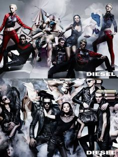 "Diesel unveil their forthcoming Fall/Winter 2014 campaign. Shot by Nick Knight, the man behind Kanye West's visually stimulating ""Bound 2"" video, the photos see a dark aesthetic dominated by black and red, with motorcycle jackets, jeans and dresses all appearing in leather."
