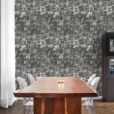 A mysterious work of art that plays with shadows and tones. A retro, Asian toile inspired pattern. From the Elements Collection: Carefully curated wallpaper des