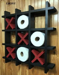 Tic-Tac-Toe Toilet Paper Holder, Bathroom Decor, Toilet Paper Storage, Tic-Tac-Toe Game, Farmhouse D