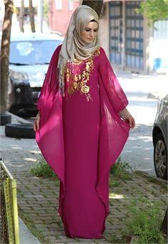Karis Yarasa Kol Şifon Elbise-Mor-1712 Modest Fashion, Hijab Fashion, Abayas, Niqab, Woman Clothing, Clothes For Women, Fitness, Dresses, Style