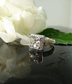 Herkimer Diamond square princess cut ring by greengem on Etsy