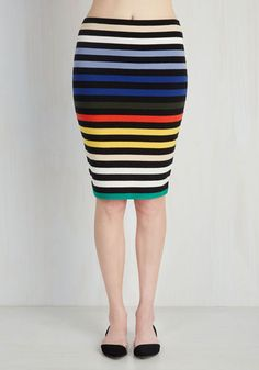 The perfect combination of class and flash - this black and rainbow-striped pencil skirt has everything you love for rockin' the night away! With its cozy knit and stretchy, action-ready construction, this bright bottom will have you dancing on air!