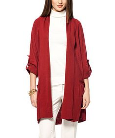 Love this Deep Red Roll-Tab Sleeve Cardigan by L'Adore on #zulily! #zulilyfinds