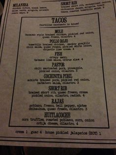 Menu at Bakersfield Short North