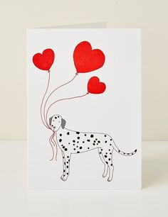 Dog Heart Greeting Card designed by Mary Kilvert. Blank on the inside and printed on FSC certified premium card in the UK. Measures 12cm x 17cm and comes with a white envelope.