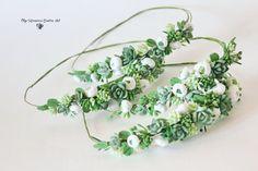 Succulent headwreath Headband Wedding Bridal by CoolClayFlowers