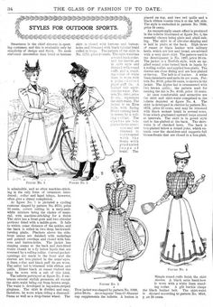 Styles for outdoor sports (bicycling, lawn games such as tennis or badminton), The Glass of Fashion, July 1898.