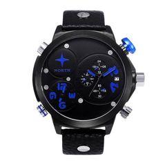 Men Leather Stainless Steel Sport Analog Quartz Wrist Watch Waterproof