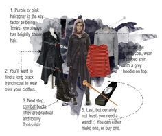 """""""Nymphadora Tonks costume!`"""" by lumos-mockingjay ❤ liked on Polyvore featuring Steve Madden, Juicy Couture, J.Crew, halloween, witch, tonks and nymphadora tonks"""