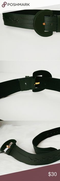 80s Vintage Forest Green Wide Belt This belt is in like new condition! It appears to have been never worn. Fun criss cross detailing runs along the back and sides. Best fits a size large. vintage Accessories Belts