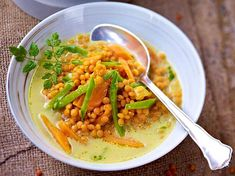 Schnelle Linsensuppe mit Möhren Rezept Yams, Freezer Meals, Soups And Stews, Thai Red Curry, Risotto, Cravings, Food And Drink, Low Carb, Snacks