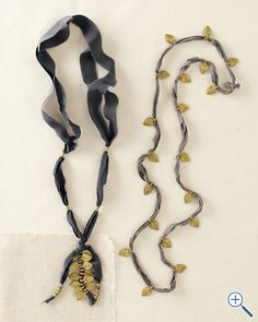 ribbon necklace - left: adjustable by having the ends hand down from the pendant, and no clasp?