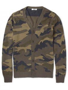 Camouflage Intarsia Cashmere Cardigan