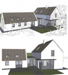 Top Bungalow Home Renovation Ideas Bungalow Extensions, House Extensions, House Designs Ireland, Cottage Extension, L Shaped House, Cottage Renovation, Modern Farmhouse Exterior, Modern Bungalow Exterior, Future House