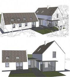 Top Bungalow Home Renovation Ideas Bungalow Extensions, House Extensions, House Designs Ireland, Cottage Extension, L Shaped House, Plans Architecture, Cottage Renovation, Modern Farmhouse Exterior, Modern Bungalow Exterior