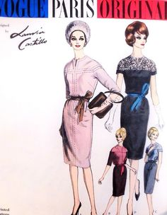 1960s Lanvin-Castillo Slim Dress Pattern VOGUE PARIS ORIGINAL 1036 Day or Cocktail Evening 4 Sophisticated Styles Bust 34 Vintage Sewing Pattern