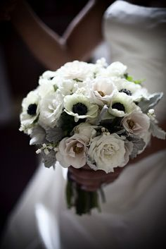 White Bouquet with Anemones and Roses by Blue Bouquet, via Flickr