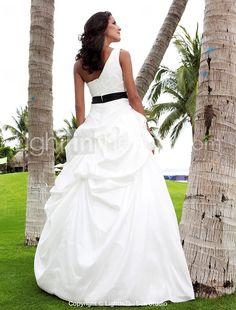 A-line One Shoulder Floor-length Taffeta Wedding Dress - US$ 299.99