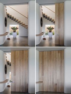 In this modern house, a large sliding wood door can be closed to hide the stairs and entryway from the main living space, while a continuous shelf between the two spaces is the ideal spot for dropping your keys and phone when you walk inside. Portable Room Dividers, Sliding Room Dividers, Oak Interior Doors, Exterior Doors, Room Interior, Wooden Sliding Doors, Inside Doors, Australian Homes, Pocket Doors