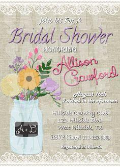 Printable BRIDAL SHOWER INVITATION Mason by ShinySparklyParties  Mason Jar Invitation #bridalshowerideas  Bridal Shower Invitation