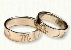 Custom Reverse Etch Astrological  Wedding Rings Shown in 14kt yellow gold, 7mm width.  You may choose most any symbol - create your own unique wedding band.