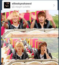 The before and after of SHINee's roller coster ride. Taemin seriously regrets everything and jjong is trying to hide the fact that he just pooped his pants.