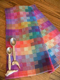 Hand Woven Tea Towel, Handwoven Gourmet Towel, Loomed Kitchen Towel, Handwoven Dish Towel, Rainbow Multi Color Blocks Towel, Hand Towel