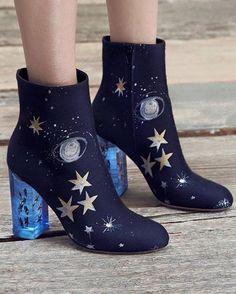 Valentino Space-Embroidered Satin Booties - I don't wear heels this high, but these are beautiful! Look Fashion, Fashion Shoes, Womens Fashion, Shoe Boots, Ankle Boots, Shoe Bag, Dress Boots, Women's Boots, Heeled Boots