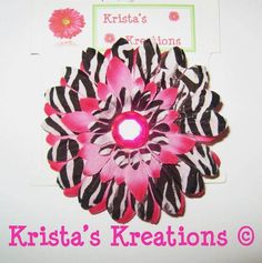 #C-Z02: Mini Hot Pink Zebra Gerbera Hot Pink Rhinestone Black Lined Alligator Clip #HotPink #Pink #Zebra #Black #Layered #Gerbera #Daisy #Flower #HairClip #Clip #AlligatorClip #KristasKreations https://www.facebook.com/KristasKreationsEtc