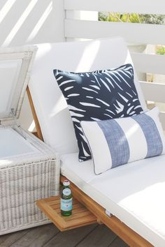 Outdoor lounge inspiration at Serena & Lily's Newport Beach Design Shop | Palm Outdoor Pillow Cover and Crosby Teak Chaise via Serena & Lily
