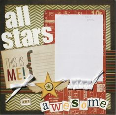 Premade Scrapbook Page 12 x 12 Layout All Stars by designstudioL