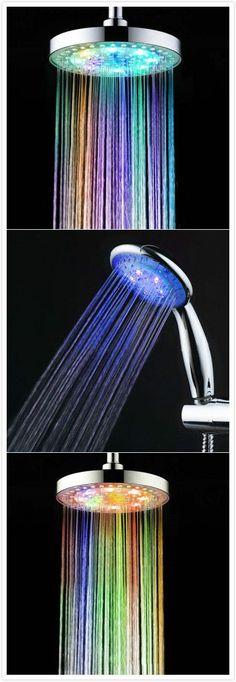 7 Colors LED Light Shower Head. #light #gadgets