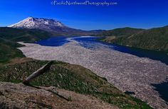 Spirit Lake at Mt St. Helens in Washington.  Those are logs in the lake from where the volcano erupted and pushed the forest into the water.  Amazing to see in person.