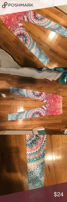 """Mandala Yoga Leggings worn once!! Super Soft Yoga leggings, only worn one time! Size """"OS"""" would probably fit size XS-L! Great condition, beautiful colors and design. Perfect for yoga/Pilates/chilling. Mandala design. Hypecheck Pants Leggings"""