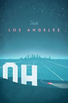 Los Angeles vintage travel poster of the Hollywood sign at night. Original Los Angeles vintage travel poster by Henry Rivers. Buy a premium art print! Old Poster, Poster Art, Retro Poster, Poster Design, Vintage London, Minimal Travel, Los Angeles Travel, Plakat Design, Vintage Travel Posters