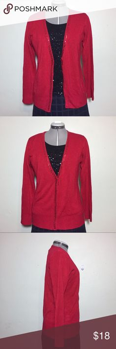 "NEW Laura Scott Red Sequin Edge Cardigan M NEW Laura Scott Red Sequin Edge Cardigan. Sequins are along the neck and down the front. Has snap close front. Size M measures flat approximately: 16"" across shoulders, 20"" across chest, 25"" long, 22"" sleeve. 100% soft acrylic. Machine Wash. 1230/50/011418 Valentine's office career business work job date night sweater cardi Laura Scott Sweaters Cardigans"