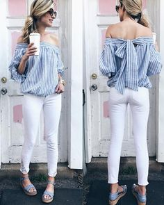 spring outfit: off the shoulder top with lace inlet white denim Classy Outfits, Stylish Outfits, Cute Outfits, Off Shoulder Outfits, Off Shoulder Top Outfit Casual, Workwear Fashion, Urban Chic, Dress And Heels, Affordable Fashion