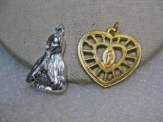 Vintage Catholic Blessed Mother Pendants,  1950's, Heart/Bust, Gold/Silver Tone