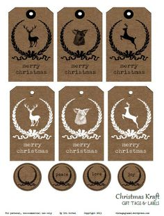 Free Christmas Kraft Tags and Labels from Vintage Glam Studio