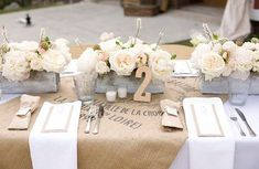 burlap, white cotton and simple flowers